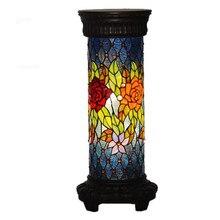Vintage Tiffany Böhmen Glas Rosen Kreative Boden Lampe für Foyer Bett Zimmer Wohnung Glas Leuchte H 67 cm 1105