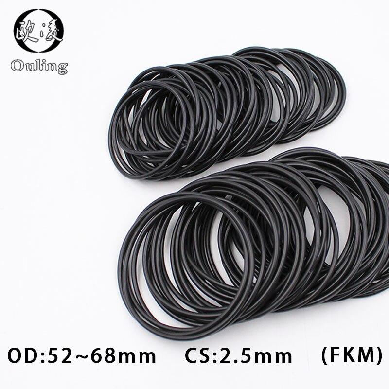 1 pieza de anillo de caucho flúor sello negro FKM OD52/54/55/56/58/60/62/65/68*2,5mm de espesor Junta selladora de aceite