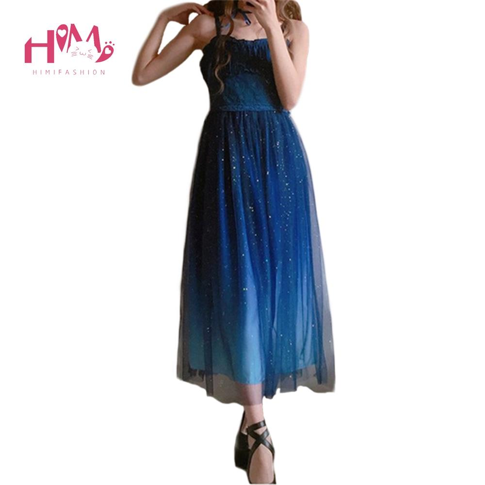 Mode japonaise galaxie bleu étoilé robe femmes Lolita été JSk douce soeur mignonne fée robe dentelle princesse Tulle sangle robe