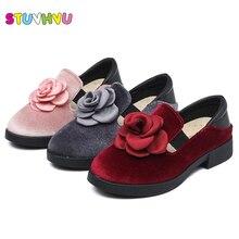 Ragazza dei capretti della principessa scarpe tacco alto delle 2017 di autunno dei bambini del bambino scarpe in pelle di velluto rosso rosa grigio party flower girls dress scarpe