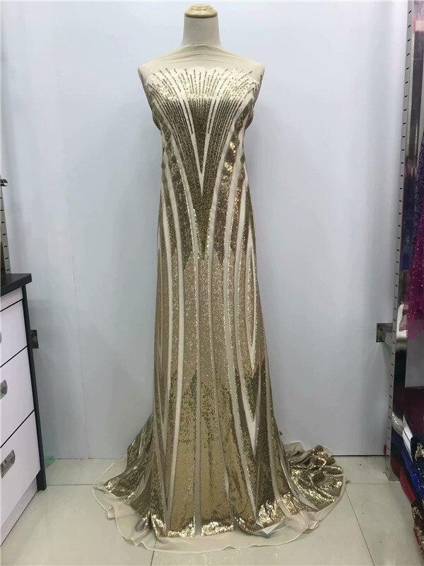 Estilo de moda lentejuelas de oro Material de encaje de red indio para las mujeres vestido guipur encajes nigeriano africano Ankara malla tul telas