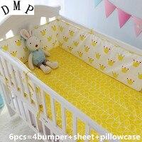 6PCS baby bedding crib set kit de berço comforter Baby Cot Set cot bumper bed linen (bumpers+sheet+pillow cover)
