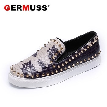 High Quality Sequins Rivets Casual Dress Flats Men Driving Shoes Brand designer 2021 New style Fashion Genuine Leather Loafers