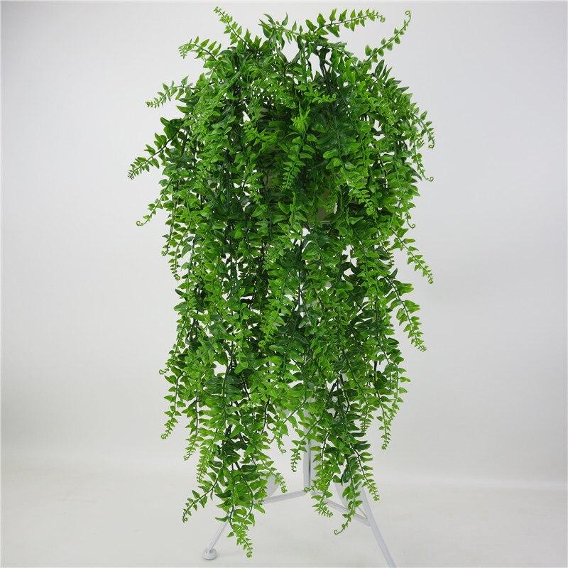Folhas artificiais de plástico planta verde videira parede pendurado casa jardim sala estar clube barra decorado folhas falsas planta verde hera