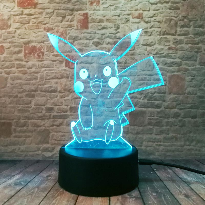 Pikachu modelo 3D ilusión Led lámpara colorida Luz de hadas luz de noche intermitente dormitorio decoración Anime figura Juguetes