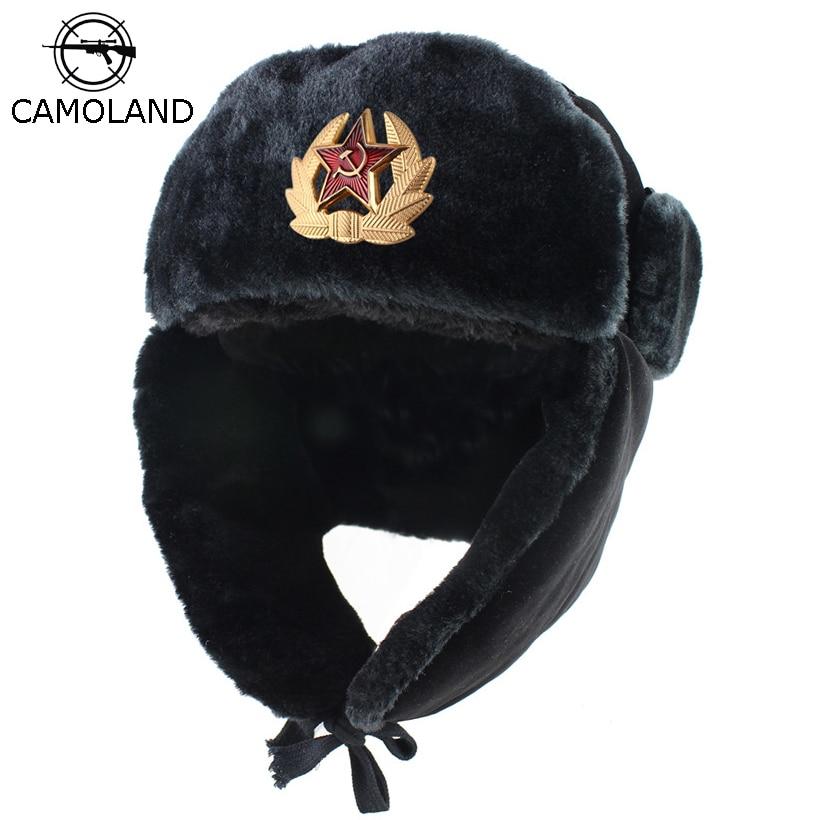 Soviet Army Military Badge Russia Ushanka Bomber Hats Pilot Trapper trooper Hat Winter Faux Rabbit F