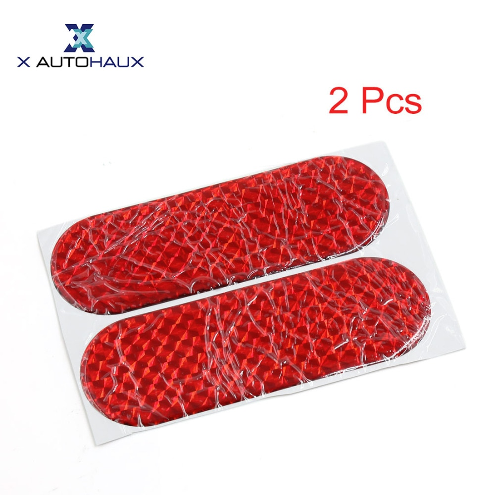X AUTOHAUX 2Pcs 12Cmx4cm Car Auto Exterior Reflector Decal Stick-On Reflective Sticker Red Car Reflective Sticker ACCESSORIES