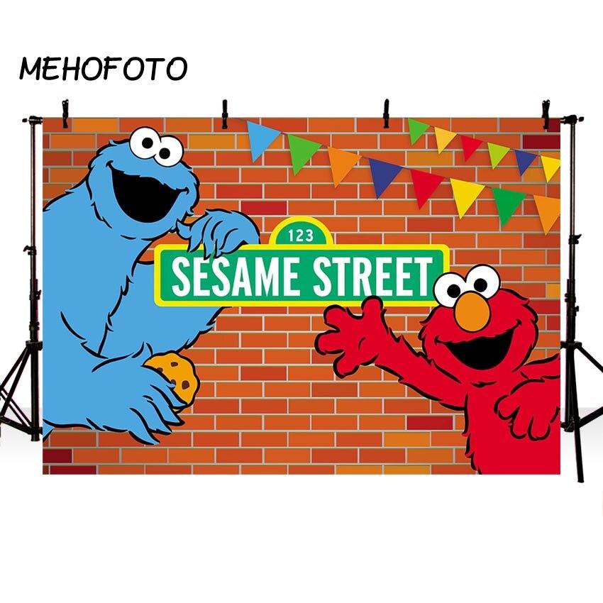 MEHOFOTO Barrio Sésamo ladrillos pared telones de fondo Elmo mundo cumpleaños fiesta personalizado fotografía telón de fondo de estudio de fotografía