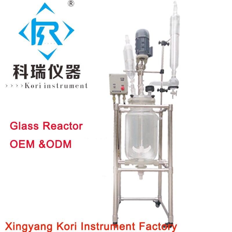 OEM y ODM. Reactor químico revestido a prueba de explosión 20L recipiente de reacción de vidrio de doble cuello para destilación de laboratorio