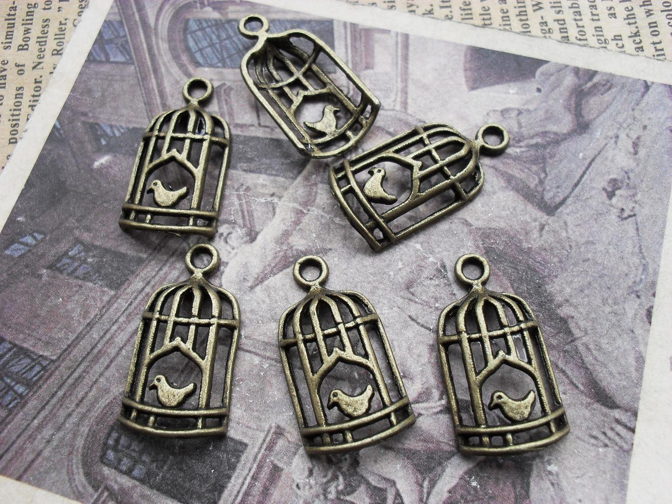 Venta al por mayor accesorio diy accesorios vintage antiguo bronce pájaro jaula c961 14*26mm envío gratis
