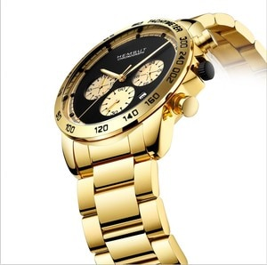 2019 HEMSUT Luxury Top Brand Men Watch Stainless Steel Band Gold Male Clock relogio masculino Drop shipping