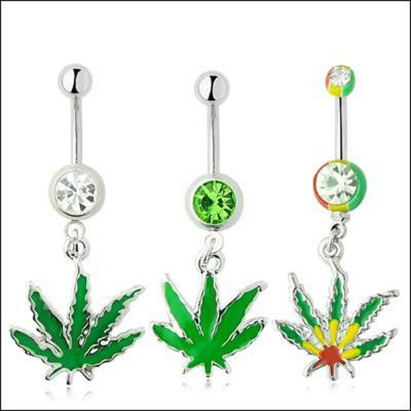 Freies verschiffen rasta pot leaf jamaican juwel bauchnabel ringe nabel ring körper gefälschte piercing schmuck nette und neue art grün