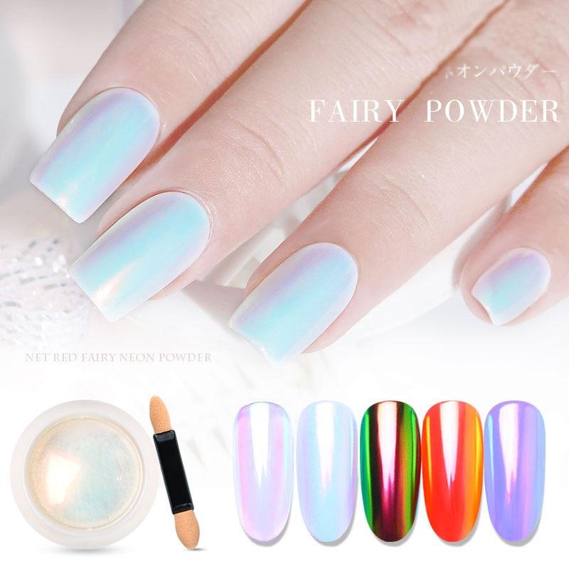 0.2g Top Neon Pigment Powder Chameleon Mermaid Powder Super Mirror Effect Unicorn Chrome Nail Rainbow Dust Nail Art DIY