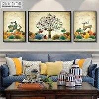 Peinture diamant avec 3 panneaux  broderie complete avec numeros  plantes  animaux  Elks  renne  maison douce  XY20