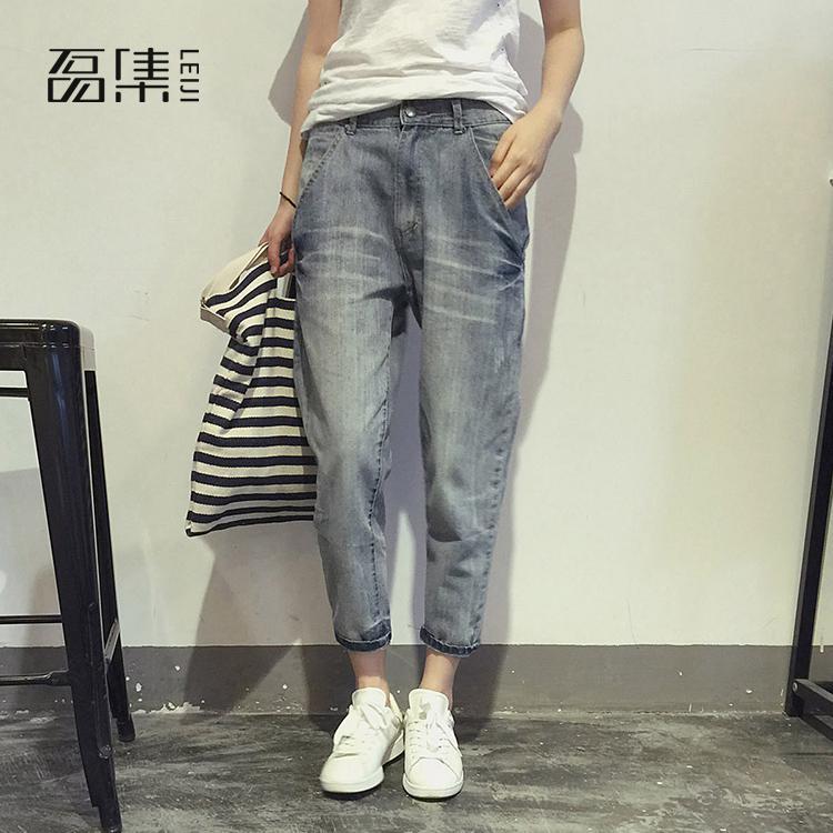 Boyfriend Jeans For Women  High Waisted  Plus Size  2019 autumn new      Button Loose Ankle-length   Denim  Harem Pants