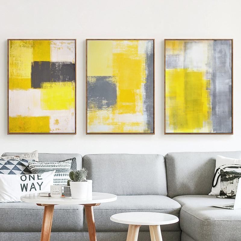 Pintura abstracta de estilo moderno, lienzo amarillo gris y blanco, pintura impresa, póster, imagen, decoración de arte de la pared del dormitorio del hogar