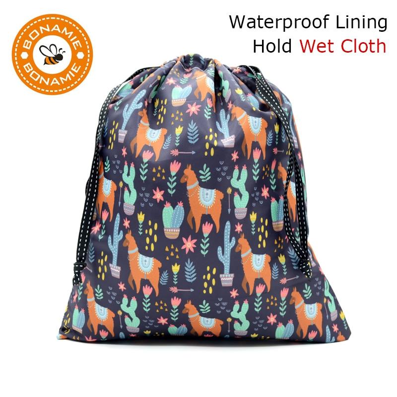 BONAMIE Alpaca Printed Drawstring Bag For Wet Clothes Fashion Women Beach Bag Wet Bikini Bag Lady Handbag Sloth Shark NEW 2019