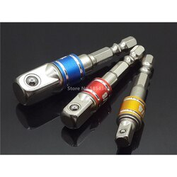 "3 pçs conjunto de potência chave de fenda driver soquete bit adaptador broca porca driver 1/4 ""3/8"" 1/2 ""hex haste adaptador barra extensão energia"