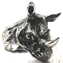 Мужские и мужские кольца из нержавеющей стали 316, животные носороги, Крутое кольцо для вечеринок, свирепый воин, бесплатная доставка