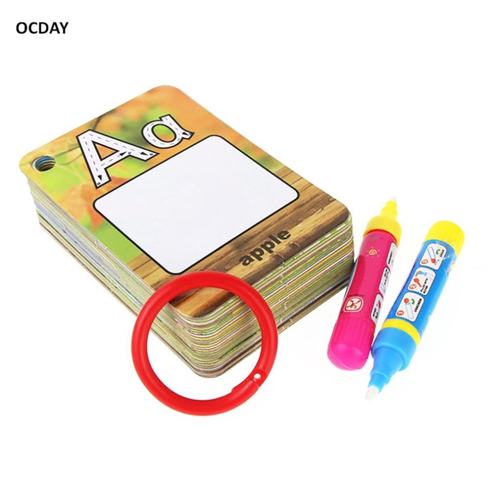 Crianças Letras 26 3D Educação Cognitiva Enigma Cartão de Água Pintura Graffiti Drawing Board placa de Coloração Livro Do Bebê Brinquedo
