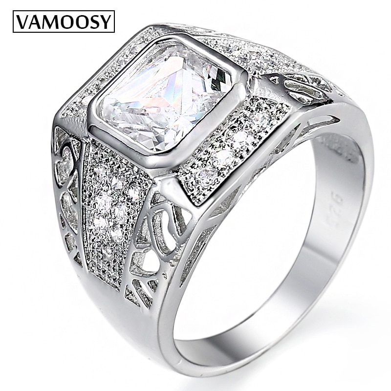 Authentic 1.5 carat Cristal zircon anéis para homens mulheres casais anel 925 proposta de jóias anéis de casamento 2018 new arrival