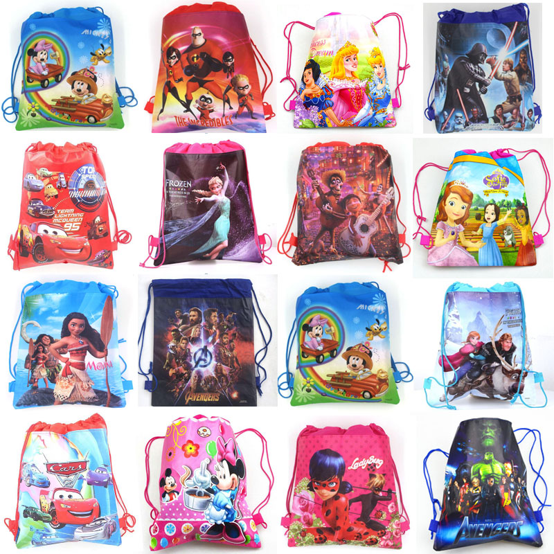 1pcs Disney Non-woven Fabrics Kid Favor Travel Pouch Storage Clothes Shoes Bags Cotton Drawstring Ba