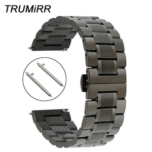 20mm 22mm Quick Release Watchband Stainless Steel Strap Universal Watch Band Butterfly Buckle Wrist Bracelet Black Grey Silver
