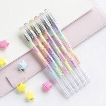 6 Colors/Set Kawaii Highlighter Pen Set Fluorescente Color Changing Pens Black Paper Pastel Marker Highlighters For School