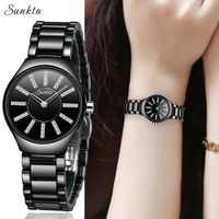 SUNKTA2021 New Starry Diamond Watches Women Luxury Brand Watch Fashion Casual Waterproof Watch Ceramic Women Watch Zegarek Damsk
