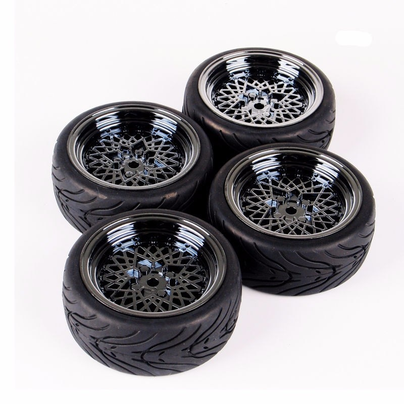 Per-sale rubber tires & wheel for HSP HPI RC 1:10 flat racing on road car 4pieces/set parts accessory enlarge