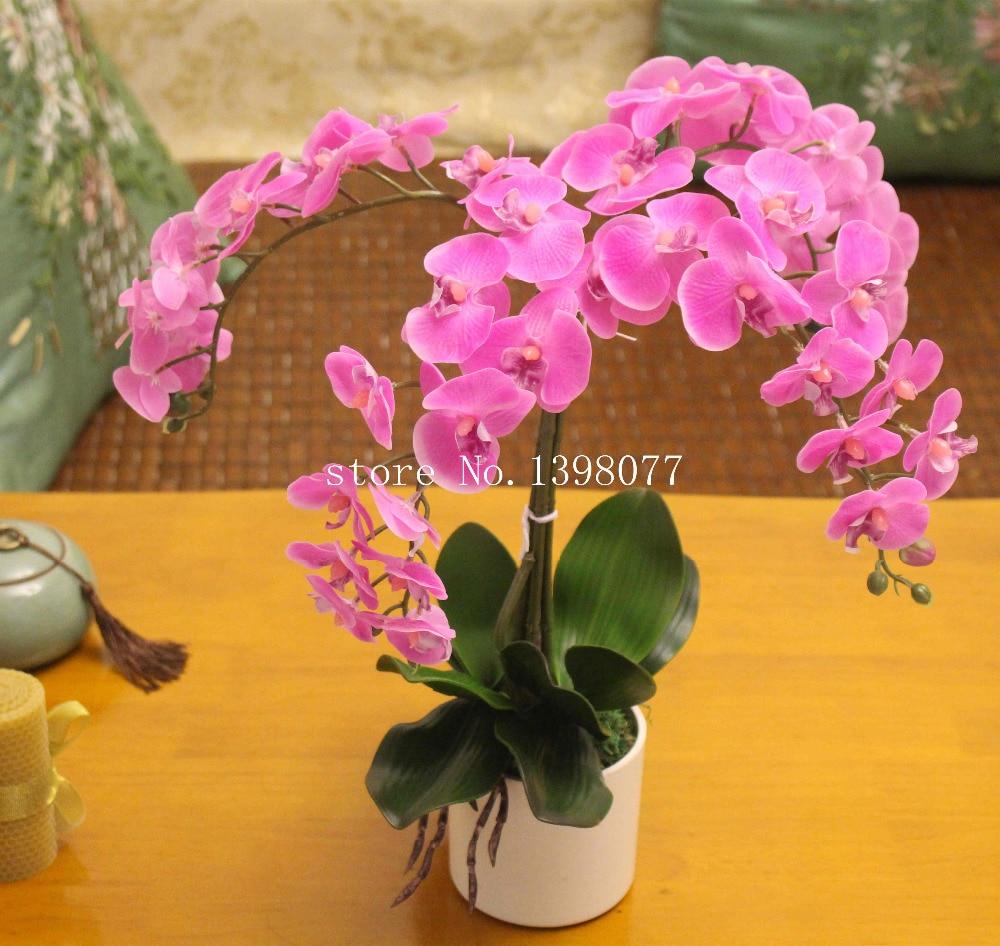 1 Набор цветов + вазы, искусственная композиция цветок орхидеи бонсай, настоящий сенсорный цветок, силиконовая Орхидея, настоящая тачскрин, ...
