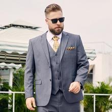 Midlife grijs plus-size pak man vet heren plus-size pak manloose versie van het pak