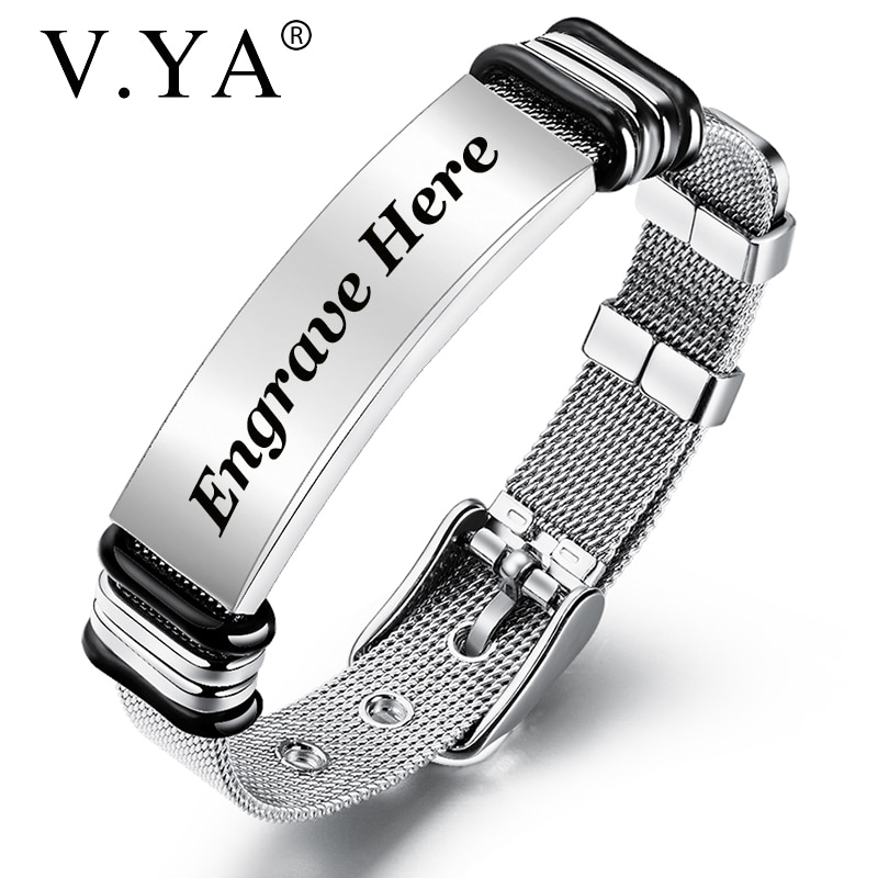 V.YA Fashion Customized Black Men Bracelet Stainless Steel  Personalized  Bracelet Engrave Bangle For Men Jewelry Gift недорого