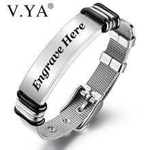 V. YA mode personnalisé noir hommes Bracelet en acier inoxydable Bracelet personnalisé graver Bracelet pour hommes bijoux cadeau