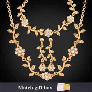 Collare Wedding Flower Jewelry Sets For Women Gold/Silver Color Crystal Necklace Bracelet Earrings Bridal Set With Gift Box S122