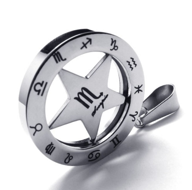 Ретро 316L нержавеющая сталь 25 мм круглый круг звезда Зодиак скорпион кулон ожерелье ювелирные изделия с цепочками из бисера