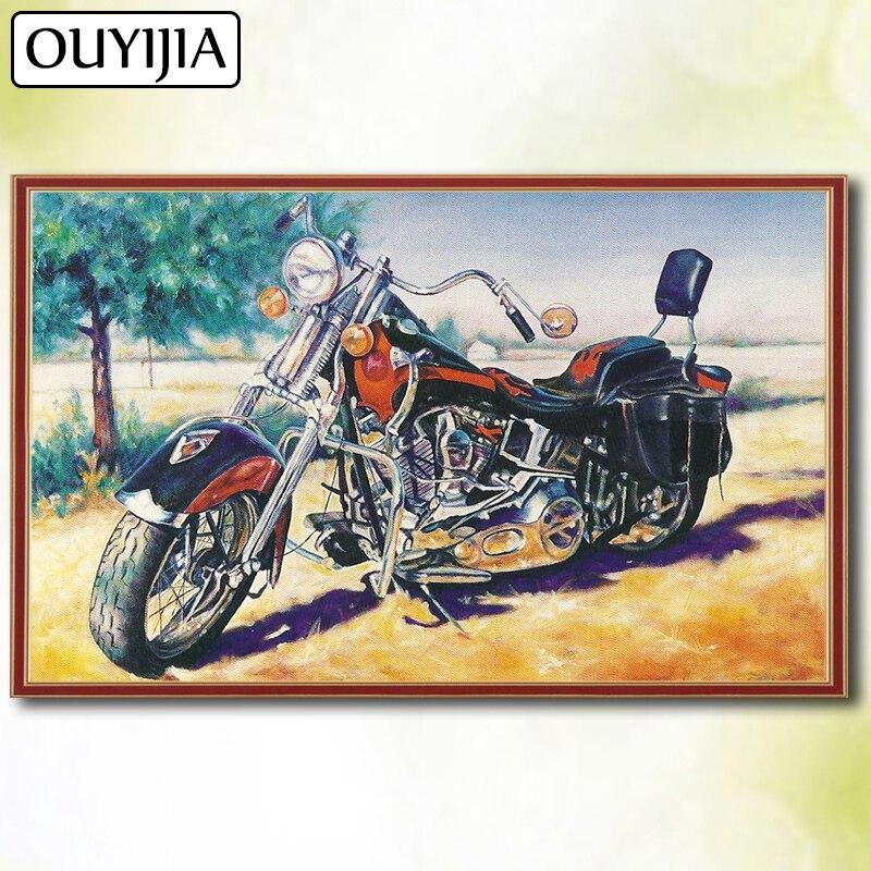Motorrad Cartoon Auto OUYIJIA 5D DIY Diamant Voller Platz Halle Moto Bild Von Strass Stickerei Für Verkauf Diamant Mosaik