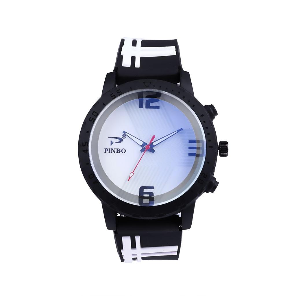 PINBO Fashion Casual Brand Men Watches Simple Sport Silocone Strap Buckle Mens Clock Quartz Wrist Watches relogio masculino