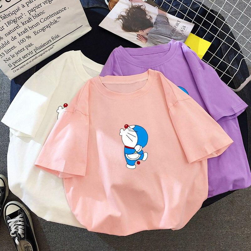 Harajuku coreano Modis verano mujeres de dibujos animados estampado Doraemon Kawaii camiseta chicas divertida Streetwear Femme lindo Tops Mujer Camisetas