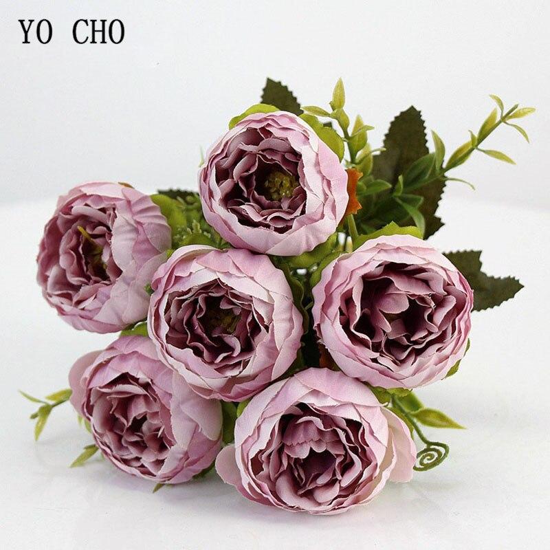 6 cabezas de YO CHO/ramo de peonías artificiales flores de seda peonías ramo blanco rosa boda decoración del hogar Flor de peonía Rosa falsa