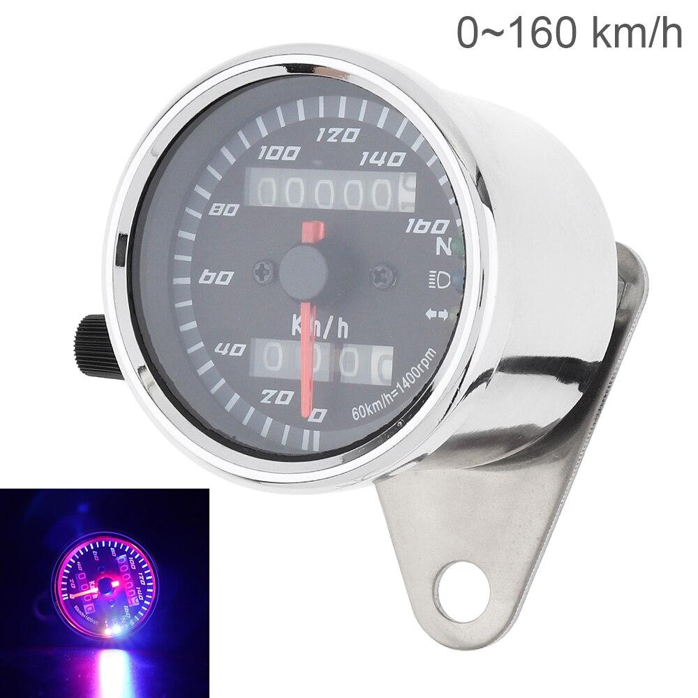 Velocímetro de motocicleta 12V caja de Metal Vintage doble kilometraje odómetro velocímetro Indicador de retroiluminación para motocicleta