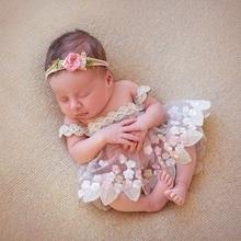 Veste de photographie pour nouveaux-nés   Accessoires Flokati, robe de princesse en dentelle, faite à la main, pour séance Photo pour Studio de broderie