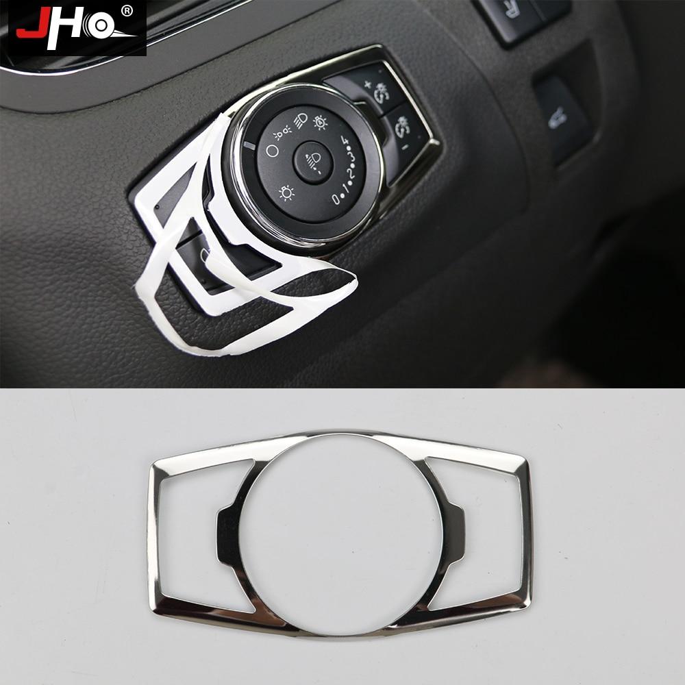 JHO ABS cromo faro cubierta para marco de interruptor de ajuste para Ford Explorer 2011-2018 14 15 16 17 F150 EVEREST 2016-17 borde 12-14