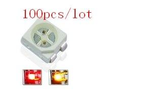 Diodo de luz 3528 led smd Bicolor rojo y amarillo 100cs/lote, chip de montaje superficial 1210, diodo emisor de luz led CE y Rohs