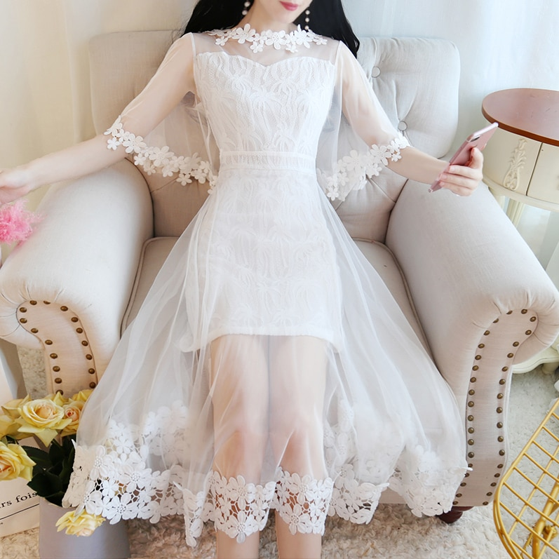 Summer Sweet Princess Princess Fairy Dress Hollow Out Lace Sweet Mesh Streetwear Dress Party Beach Dresses