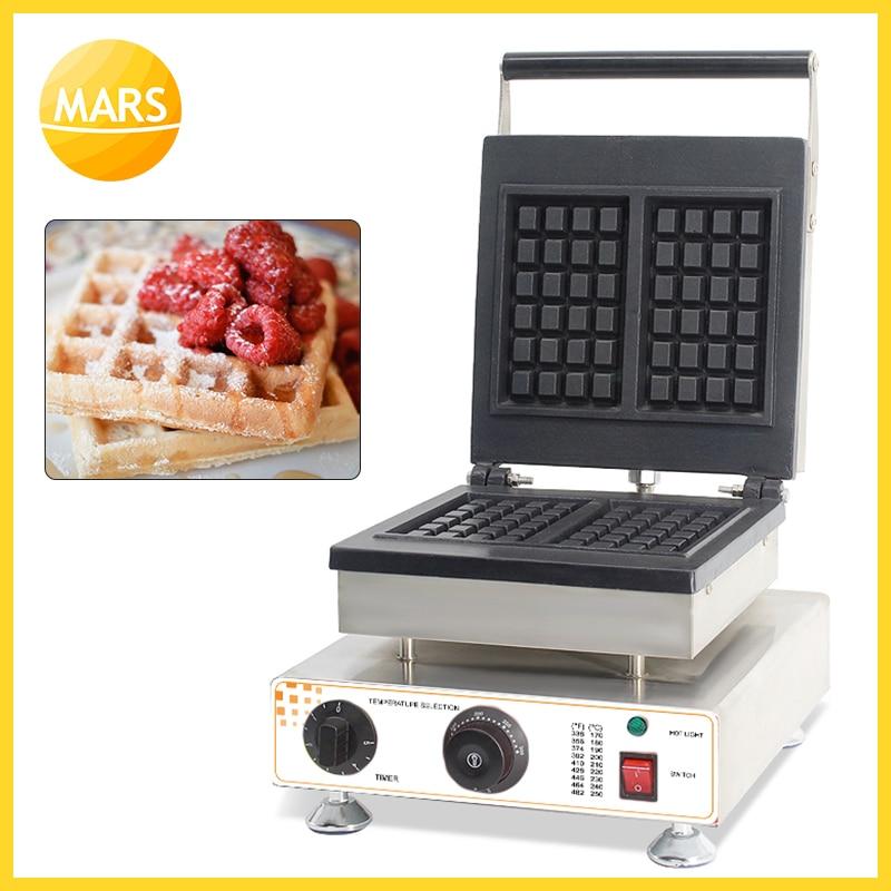 Commercial Belgiam Waffle Maker Machine 2pcs Rectangle Waffle Baker Iron Plates Non-stick Wafle Baking Catering Equipment