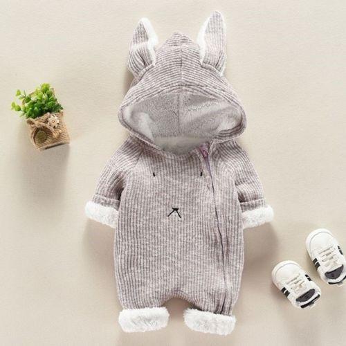 Reino unido canis da criança do bebê meninos meninas orelhas de coelho com capuz macacão conjunto