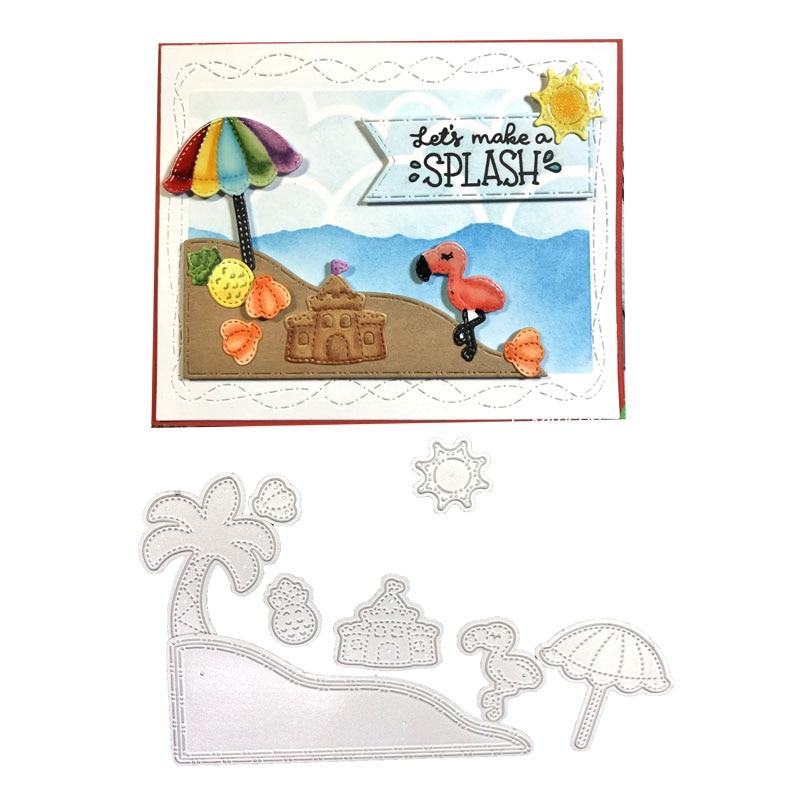 Scrapbooking Corte Morre Julyarts 8 pçs/set Flamingos Beach Sun de Coco Abacaxi Cartões de Papel Morrem Máquina De Corte de Metal