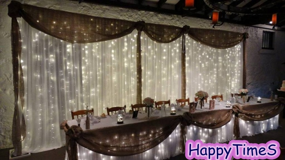 3*8m decoraciones de fondo para boda cortina para eventos telón de fondo con guirnaldas negras y luz Led blanca