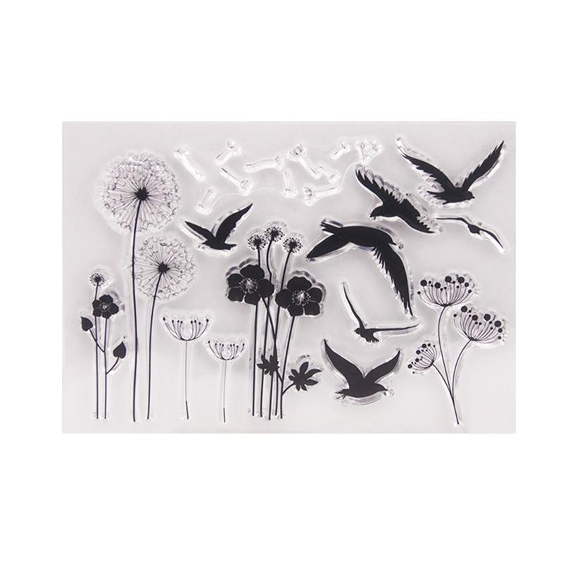 1pc Clear Stamp Bird Dandelion Flower Scrapbooking Seals Transparent Stamps Cling Stamp for Photo Album Scrapbooks